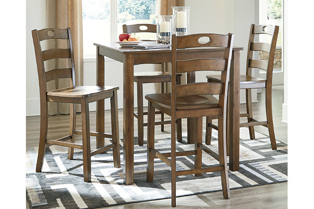 Hazelteen Counter Height Dining Room Table and Bar Stools (Set of 5), , large