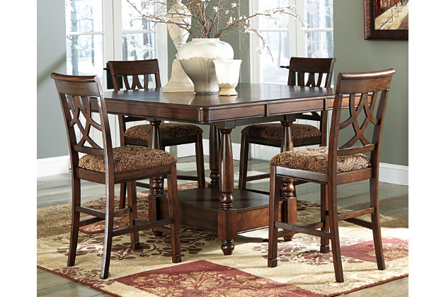 Dining Room Furniture Shown On A White Background Medium Brown Leahlyn Counter Height Bar Stool View 3