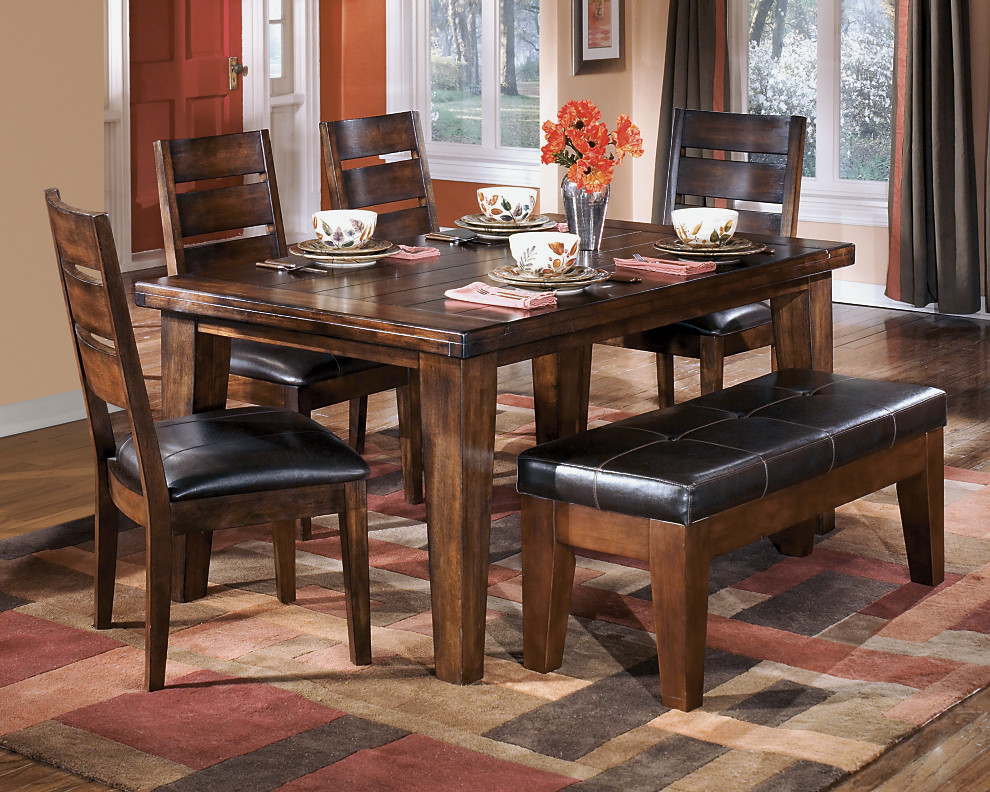 Dark Rustic Finish And Upholstered Seats On This Kitchen Table And Chairs  With Dining Room Bench