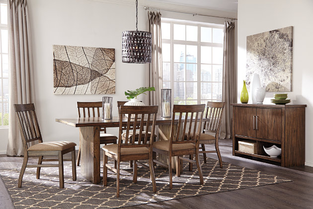 Cushioned Slat Back Chairs And Dining Room Table With Double Slab Pedestals