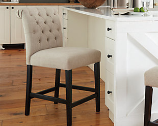 ... Large Tripton Counter Height Bar Stool, Linen, Rollover
