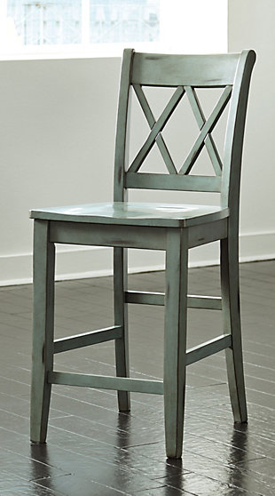 Mestler Counter Height Bar Stool, Blue/Green, rollover