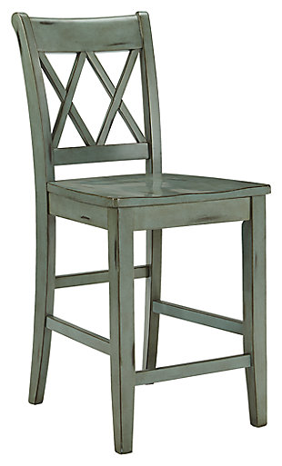 Mestler Counter Height Bar Stool, Blue/Green, large
