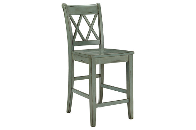 Blue & Green Mestler Counter Height Bar Stool (Set of 2) by Ashley HomeStore