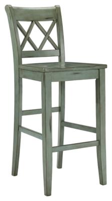Ashley Mestler Bar Height Bar Stool (Set of 2), Blue/Green