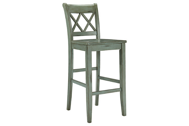 Blue & Green Mestler Pub Height Bar Stool (Set of 2) by Ashley HomeStore