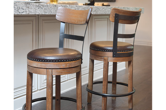 Pinnadel Counter Height Bar Stool, Light Brown, large