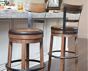 Pinnadel Bar Height Bar Stool, Light Brown, rollover