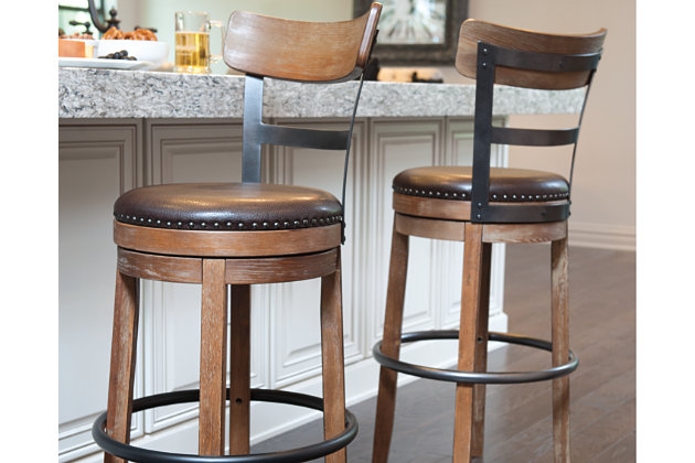 Light Brown Pinnadel Pub Height Bar Stool View 1 Dining Room
