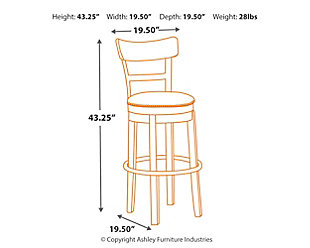 Pinnadel Bar Height Bar Stool, Light Brown, large