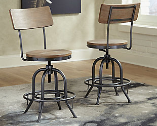Pinnadel Counter Height Bar Stool, Light Brown, rollover