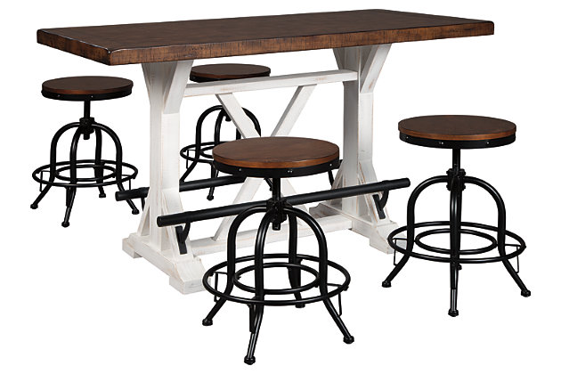 Valebeck Counter Height Dining Table and 4 Barstools, , large