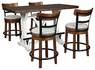 Valebeck Counter Height Dining Table and 4 Barstools, Brown, large