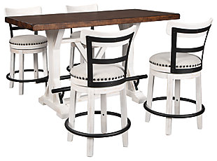Valebeck Counter Height Dining Table and 4 Barstools, White, large