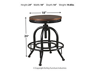 Valebeck Counter Height Bar Stool, Brown/Black, large
