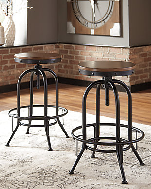 Valebeck Bar Height Bar Stool, Brown/Black, rollover