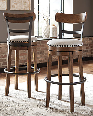 Valebeck Bar Height Bar Stool, Brown, rollover