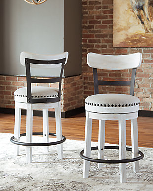 Valebeck Counter Height Bar Stool, White, rollover