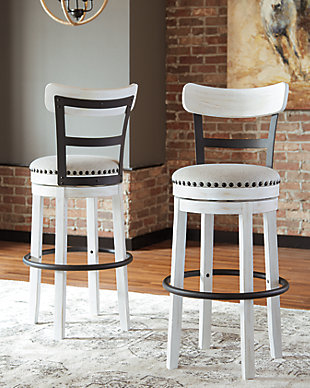 Valebeck Bar Height Bar Stool, White, rollover