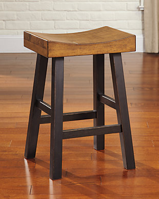 Glosco Counter Height Bar Stool, Medium Brown/Dark Brown, rollover