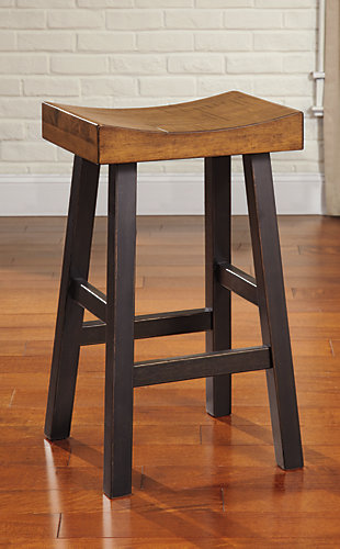 Glosco Bar Height Bar Stool, Medium Brown/Dark Brown, rollover