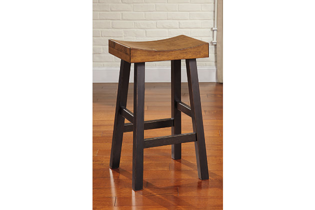 Glosco Bar Height Bar Stool, Medium Brown/Dark Brown, large