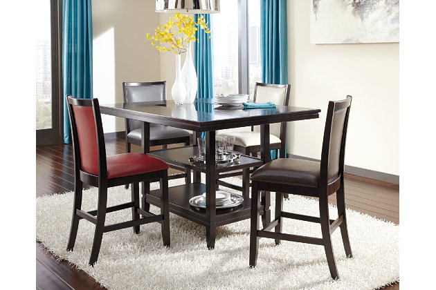 dark brown trishelle counter height dining room table view 3 - Dining Room Table Height