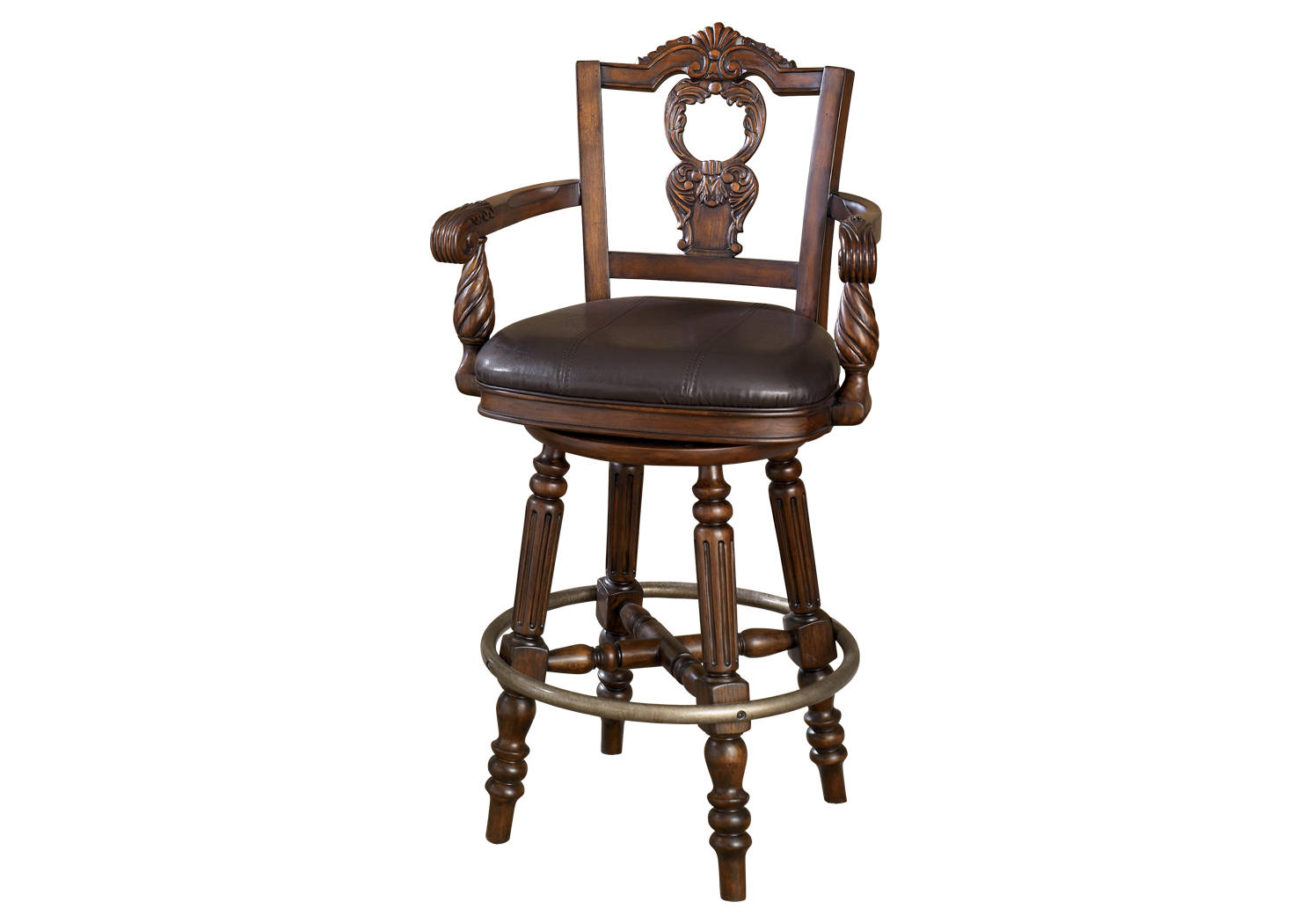 Ashley Furniture North Shore Tall Upholstered Swivel Barstool D553-130 Drk Brown