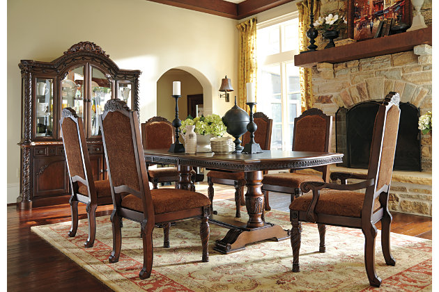 North Shore Dining Table With Upholstered Chair And Buffet China Set