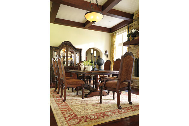 Angled View Of North Shore Rectangular Pedestal Table And Chairs Set