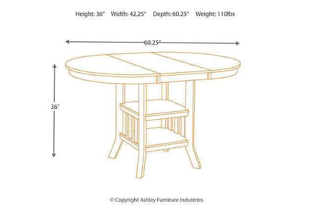 medium brown renaburg counter height dining room table view 6 - Dining Room Table Height