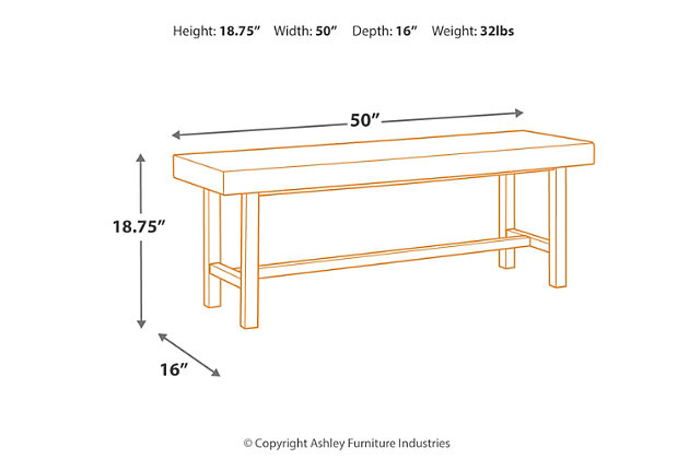 Cazentine Dining Room Bench, , large