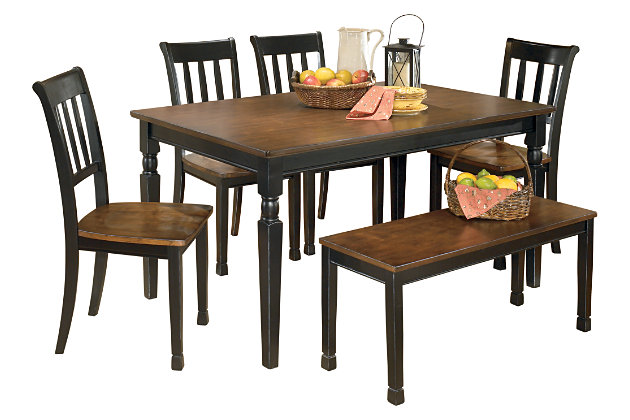 Owingsville Dining Table and 4 Chairs and Bench Set