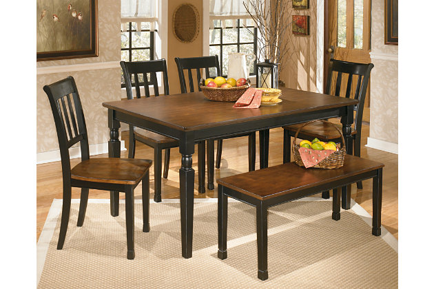 Owingsville Dining Table And 4 Chairs And Bench Set Ashley Furniture Homestore