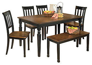 Owingsville Dining Table and 4 Chairs and Bench, , large