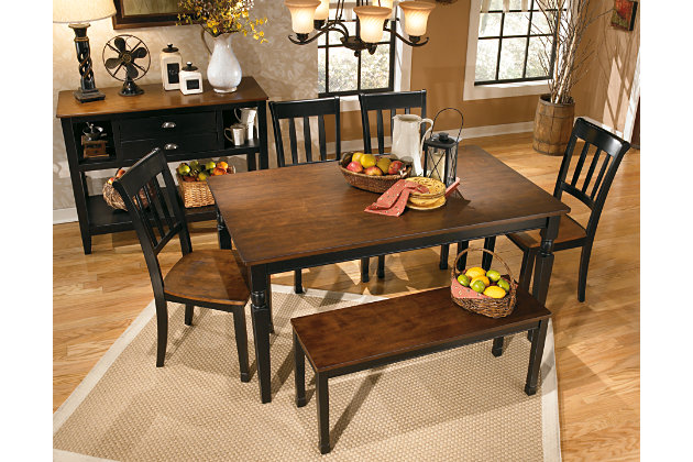 Black Brown Owingsville Dining Room Bench View 4