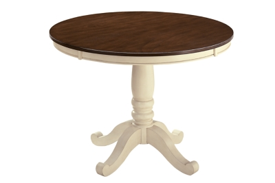 Dining Room Table Brown Cottage White Round Product Photo 2791