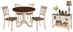 Whitesburg Dining Table and 4 Chairs with Storage, , large
