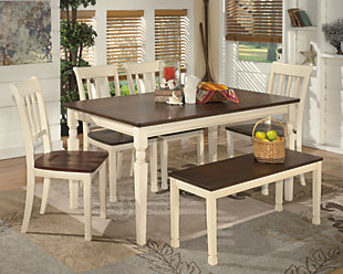 ... Whitesburg Dining Room Table, Brown/Cottage White, Large ...