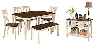 Whitesburg Dining Table and 4 Chairs and Bench with Storage, , rollover