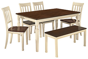 Whitesburg Dining Table and 4 Chairs and Bench, , large