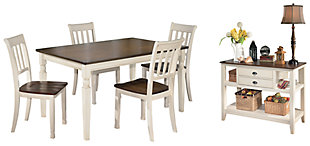 Whitesburg Dining Table and 4 Chairs with Storage, , rollover