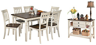Whitesburg Dining Table and 6 Chairs with Storage, , large