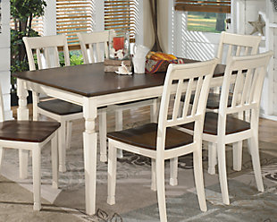 ... Large Whitesburg Dining Room Table, Brown/Cottage White, Rollover