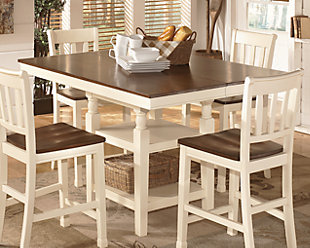 Brown Cottage White Dining Room Furniture Shown On A Background