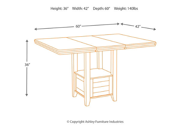 Haddigan Counter Height Dining Room Table Large