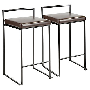 Fuji Stackable Counter Stool (Set of 2), Brown, large