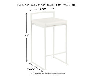 Fuji Stackable Counter Stool (Set of 2), White, large