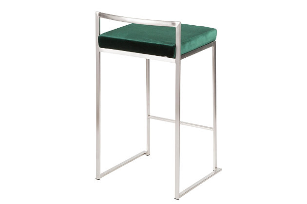 Fuji Stackable Counter Stool (Set of 2), Green, large