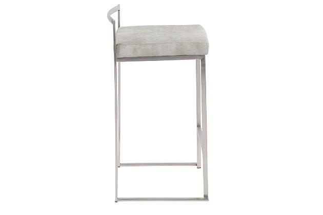 Fuji Stackable Counter Stool (Set of 2), Light Gray, large